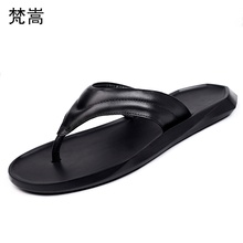 Summer Genuine Leather flip-flops leisure personality sandals fashion slippers men all-match cowhide beach outdoor slippers все цены