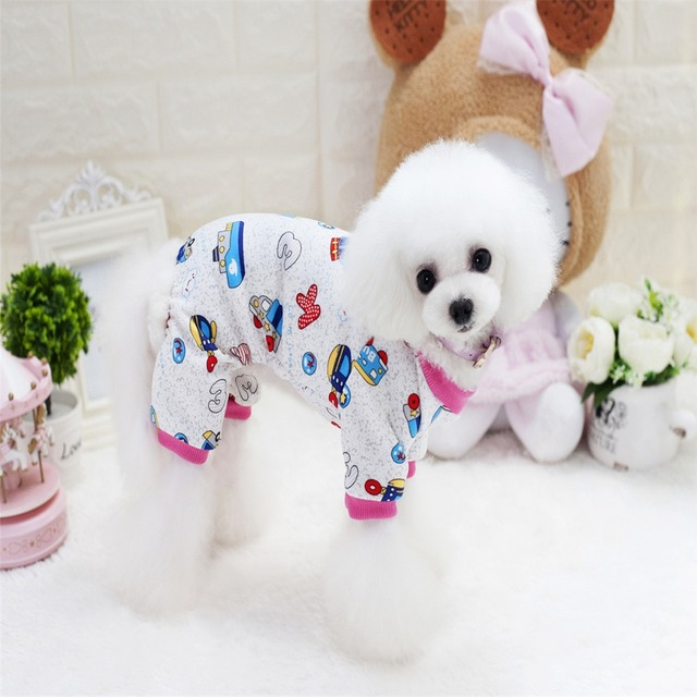 New Thickness Four Legs Pet Dogs Home Coat With Car Pattern Small