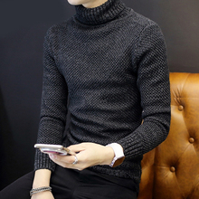 2017 Men New Leisure Round neck Wool Pullover Color Solid color Sweater High collar head Loose thickening black Sweater MK474