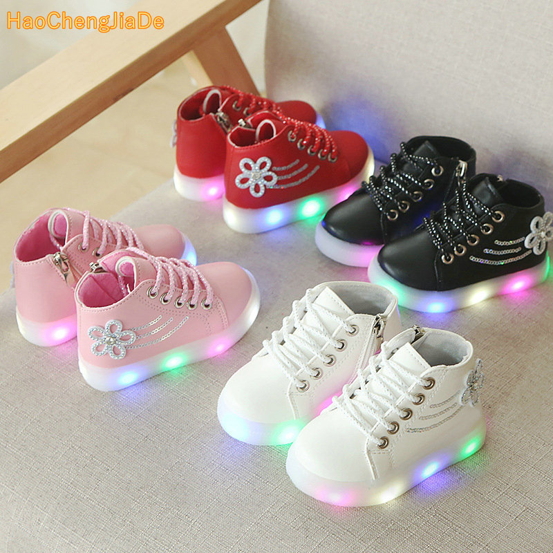 e0a7b18a23ff0 New Spring Autumn Children s Luminous Sneakers Kids Led Shoes Chaussure  Enfant Girls Boys Shoes With LED Light