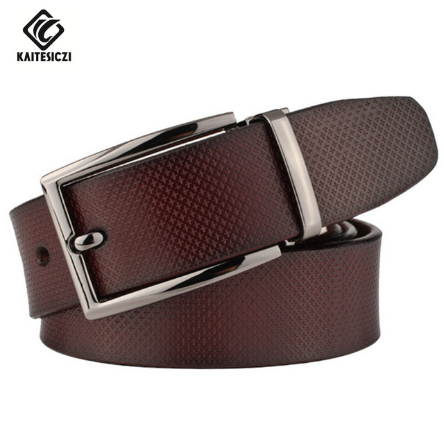 [KAITESICZI]2017 Brand new men's belt  100% pure leather belt business casual upscale jeans with belt high quality leather belt