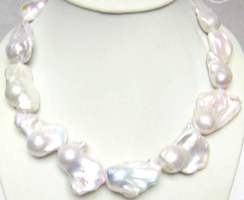 30% off ceny Hurtowe Szybka wysyłka JY >>@@ & 3191 wspaniałe duże 22mm barokowy białe słodkowodne hodowane naszyjnik z pereł