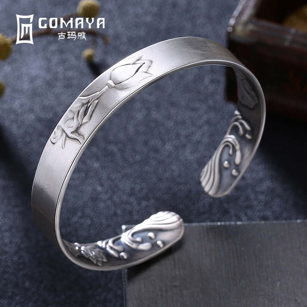 GOMAYA 999 Sterling Silver Rose Flower Bangles for Women Fine Jewelry Engagement Bracelets Popular Birthday Gift for LadyGOMAYA 999 Sterling Silver Rose Flower Bangles for Women Fine Jewelry Engagement Bracelets Popular Birthday Gift for Lady
