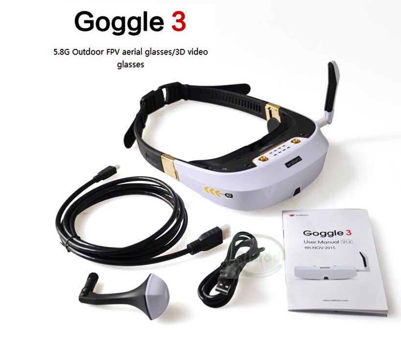F17777 Original Walkera Goggle 3 Glasses 5.8G 32CH Head Tracker 3D Video Glasses 360 Degree Outdoor FPV Aerial Photography walkera goggle2 fpv 5 8g 8ch video glasses with head tracking system ems free shipping
