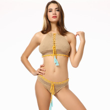 5d32b12ad8 Halter String Micro Crochet Bikini Set Swimwear Women Swimsuit 2019 Swim  Bathing Suit Beach Wear Bather Lady Brazilian Tanga -in Bikinis Set from  Sports ...