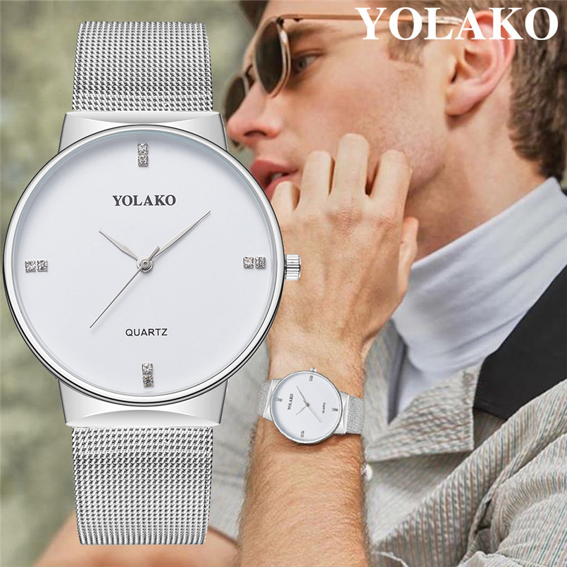 YOLAKO Mens Watches Business Waterproof Stainless Steel Mesh Wrist Watches Gents Sport Simple Design Analogue Watches For Men