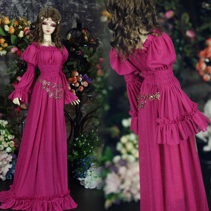 Accept custom Retro Mei powder Long skirt 1 3 1 4 BJD IP DD SD MSD
