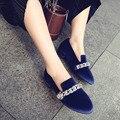 Женщина Обувь Класса Люкс Известный Бренд Кристалл 100% Бархат Кожи Овец Свадебные Женщины Квартиры Обувь Женщина Случайные Плоские Мокасины Обувь 43