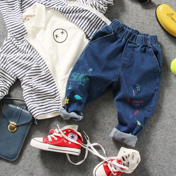 only jeans 1pc 2-10Y new 2017 spring high quality boys fashion paint letter jeans children denim pant kids jeans boys trousers
