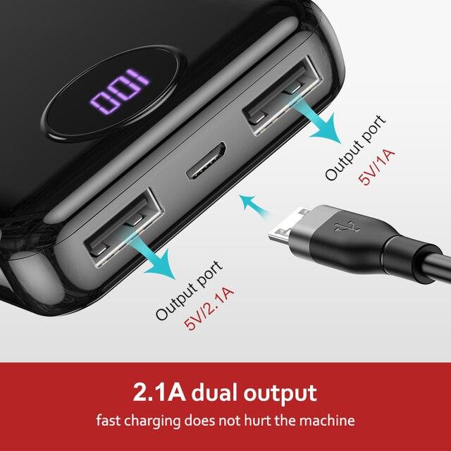 KUULAA Power Bank 10000mAh Portable Fast Charging PowerBank 10000 Dual USB Mini External Battery Charger For Xiaomi Mi PoverBank 1