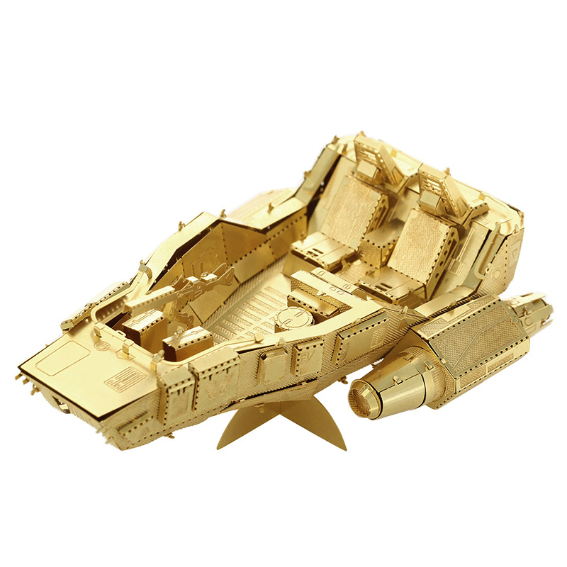 Gold Yuan order snow car model laser cutting 3D puzzle DIY metalic spacecraft jigsaw free shipping