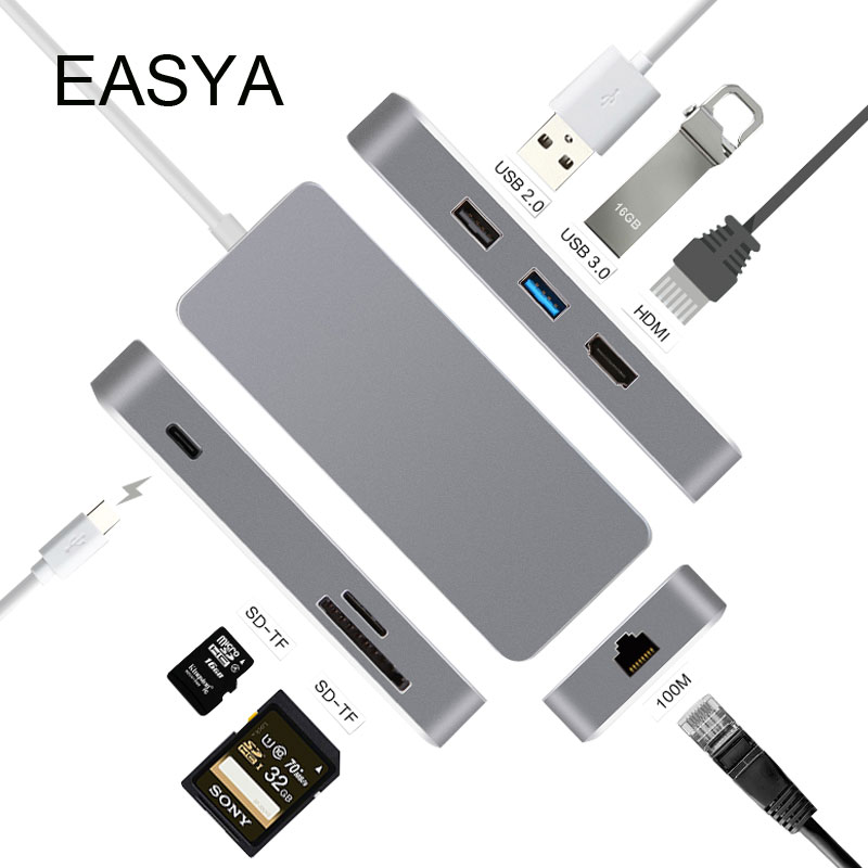 EASYA Thunderbolt 3 USB C HUB to HDMI Rj45 Gigabit Ethernet Adapter USB Type-C Hub Dock with Power Delivery for Macbook pro truck bus mobile dvr ahd double sd card on board video recorder air head 4ch mdvr vehicle monitor host