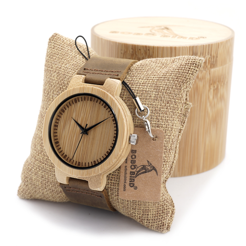 BOBO BIRD Men s Quartz Watch Handmade Bamboo Wood Watch Leather Band Casual Watches for Men