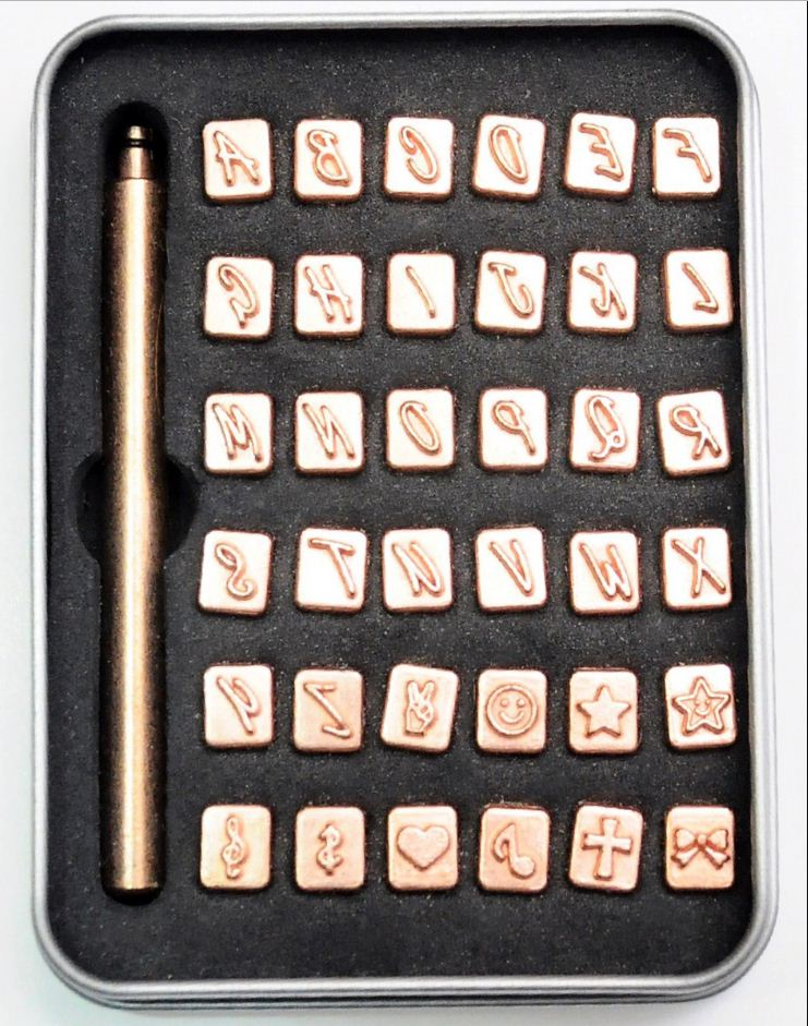 36pcs Letter Number Alphabet Punch Stamp Set Beading