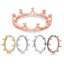 30% 925 Silver Ring Charms Rose Gold Princess Crown Stackable Crystal For Women Wedding Party Gift Fine Jewelry