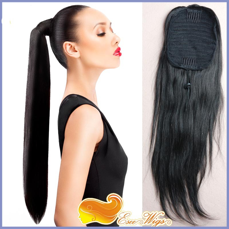 Free Shipping 7a Brazilian Virgin Hair Long Straight Ponytail Wrap