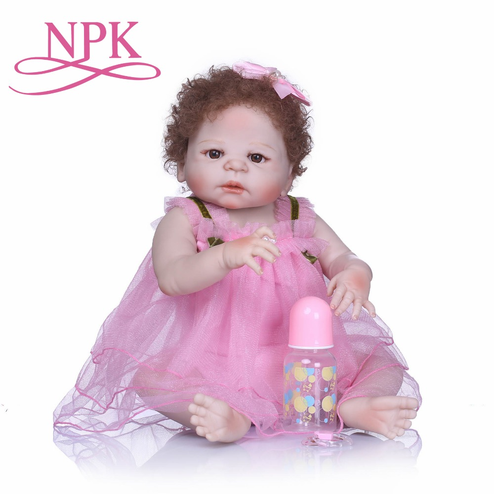 NPK Lifelike Silicone Reborn Baby Menina Alive Newborn Bebe Dolls Full Vinyl body with New Curly Hair Truly Kids Playmates Toys ...