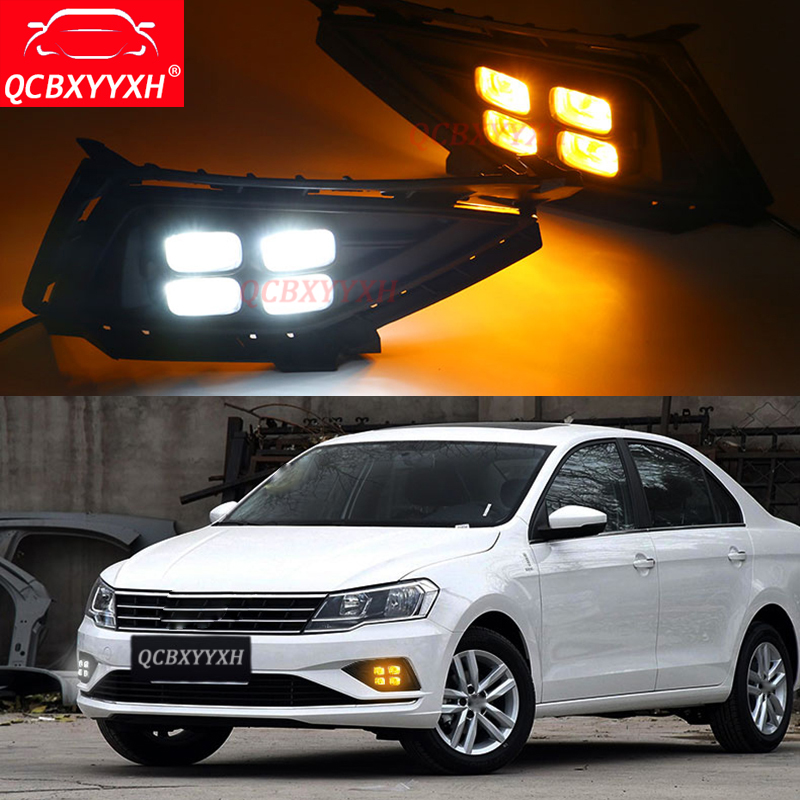 QCBXYYXH For VW Jetta 2017 2018 White Turn Yellow Signal Light Relay Car-styling 12V LED Car Decorate DRL Daytime Running Lights auto led car bumper grille fog lamp source bulb drl daytime running driving light for vw volkswagen jetta bora mk4 1999 2004