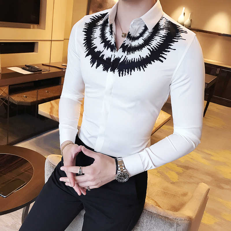2019 New Arrival Long Sleeve Men's Printed Shirt Stretchy Fancy Clothing Slim Fit Casual blouse Man Night Club Chemise Homme