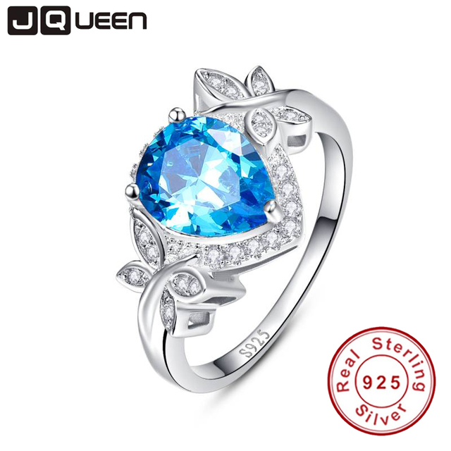 JQUEEN wedding engagement jewelry 925 sterling silver blue topaz ring butterfly decoration 3.85 Carat pear cut water drop shape