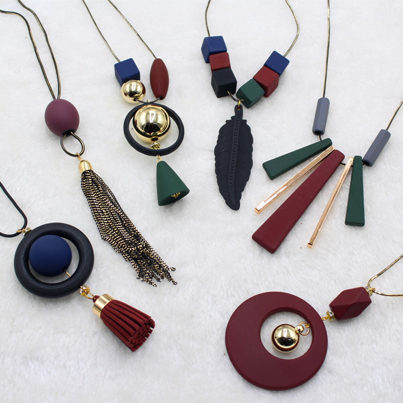 20 style Long Wood all-match Bohemian Leisure Vintage Handmade Tassel Sweater Chain Necklace Geometric Female Accessories