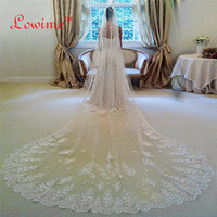 Free Shipping 3 Meters Long Wedding Veil Bridal Veils White Ivory Lace Edge With Comb Wedding