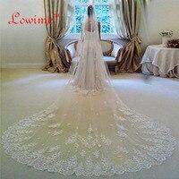 Stokta 3 Metre Uzun Düğün Veil Gelin Veils Beyaz/Fildişi Dantel Kenar Tarak Düğün Aksesuarları Peçe Soiree Ile