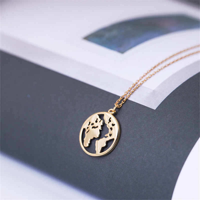 LUSION Trendy Vintage Origami World Map Necklace Women Geometric Necklace Necklace Circle Necklaces & Pendants Choker Jewelry