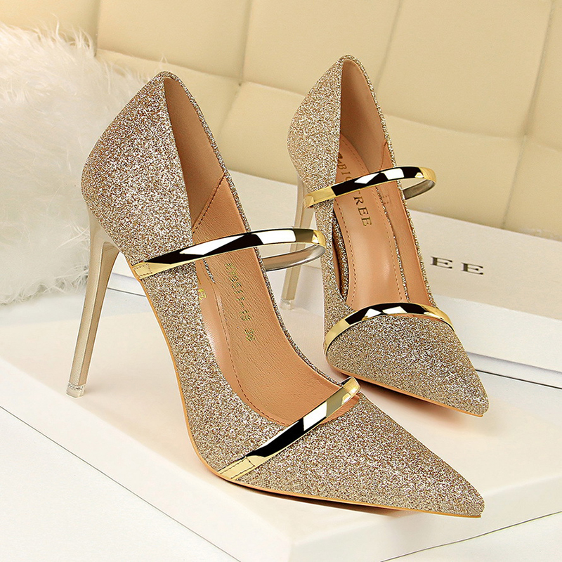 Women Pumps Concise Solid Silk Shallow Women Pumps Sexy Pointed Toe Show Thin High Heels Shoes New Arrival Fashion Shoes 9511 19
