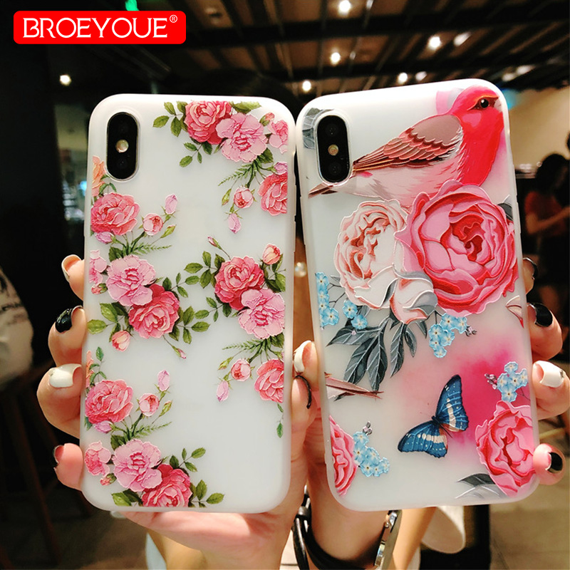 BROEYOUE Floral Case For iPhone 6 6S Plus 7 8 Plus X 3D Relief Soft TPU Flower Painted Case For iPhone 5 5S SE Cases Back Cover