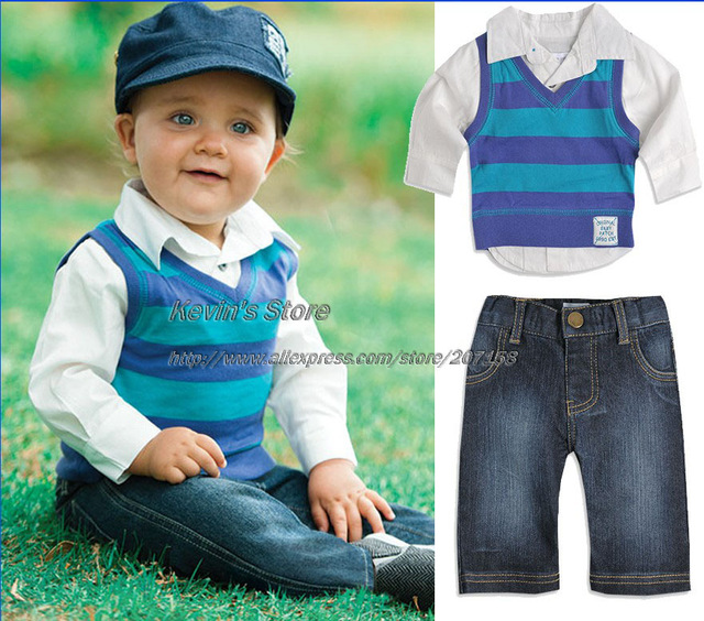Hurave new hot sale autumn casual fashionable gentleman baby suit 3 piece toddlers clothing sets