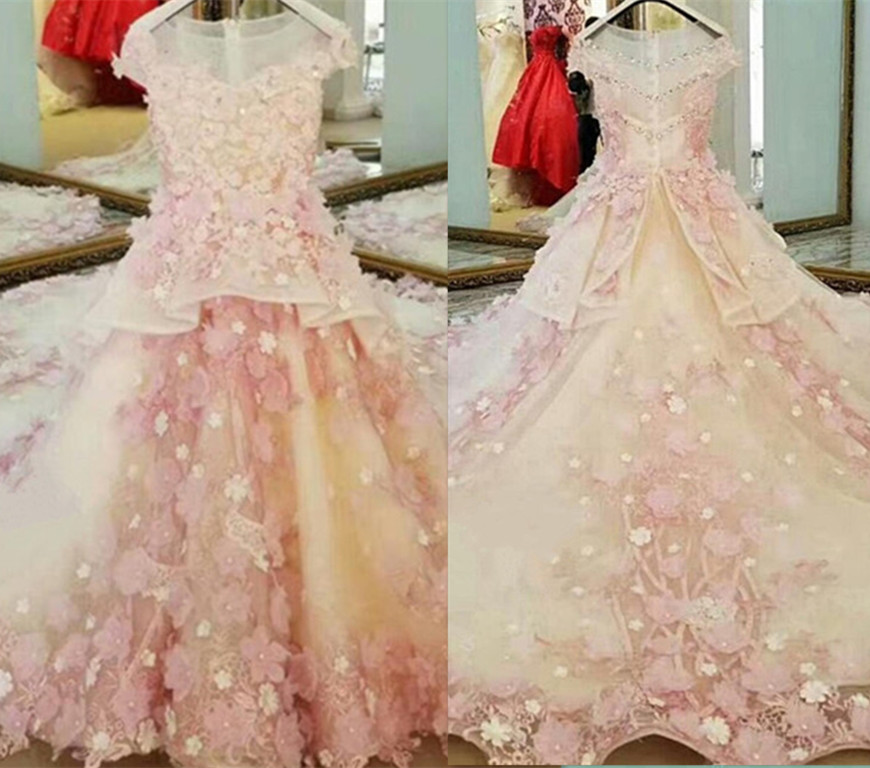 Real Picture Pink Flower Girls Dresses Children Prom Dresses 3D Flowers Applique Embroidered kids Dresses for Wedding with Train