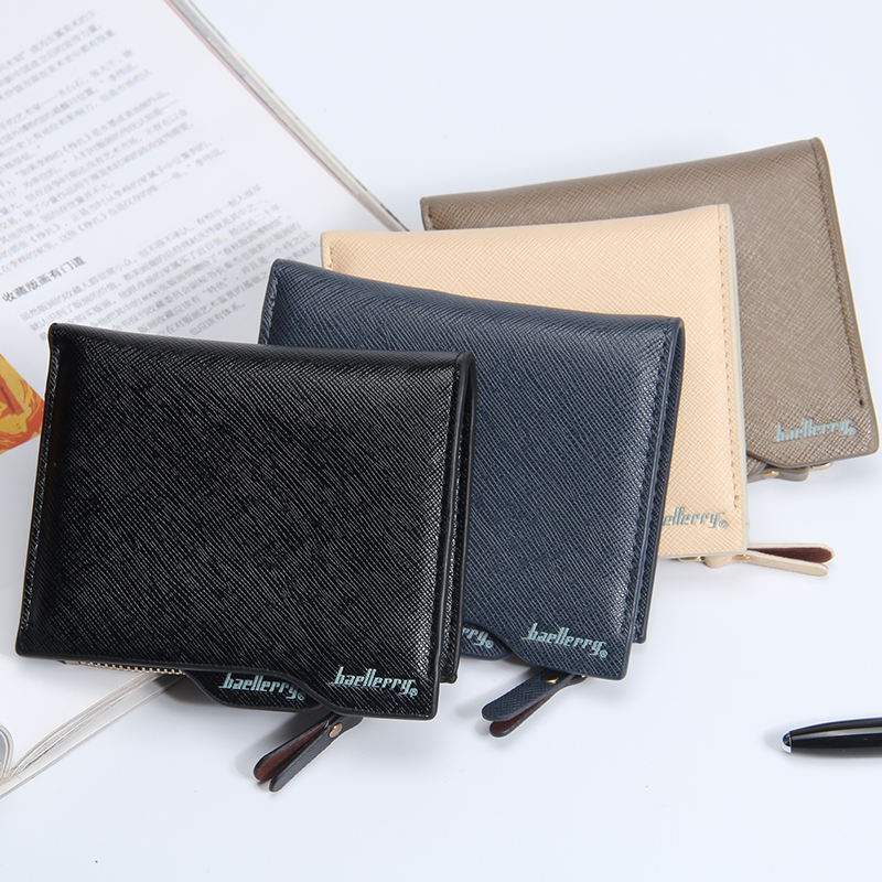 Fashion Men Wallets Mobile Page Zipper Wallet 4 Colors Short Cross Style Quality PU Leather  Card Holder Purse Free Shipping cross page 2