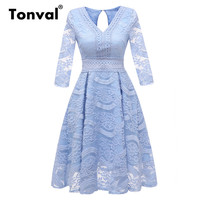 Tonval Vintage High Waist Blue Floral Lace Dress V Neck Hollow Waist 3/4 Sleeve Women Luxury Dress Elegant Autumn Dresses
