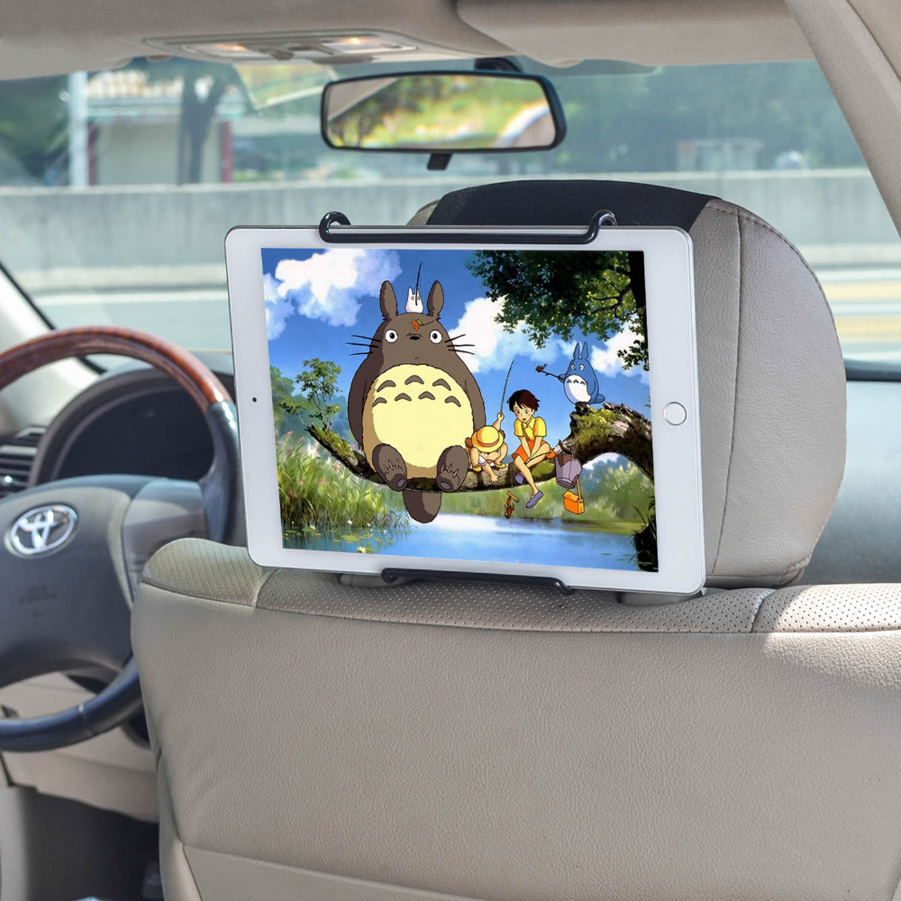 TFY Universal Car Headrest Mount Holder with Angle- Adjustable Holding Clamp for Tablets, Black