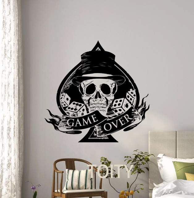 Game Over Poker Skull Wall Decal Spade Cards Dice Vinyl