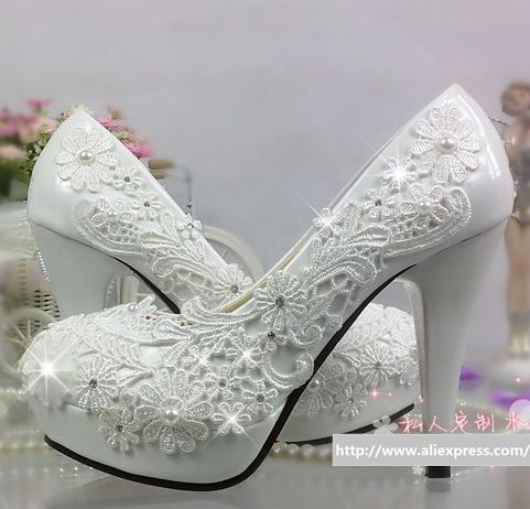 11cm high heels wedding shoes for women bridal white lace handmade TG277 platforms round toe shoes heels party dress pumps