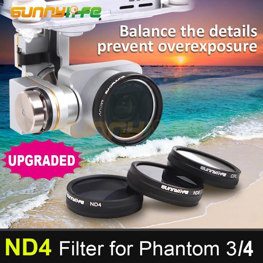 1pc Sunnylife ND4 Dimmer ND-4 Light Microscopy 렌즈 필터, DJI 팬텀 4 및 팬텀 3 전문가 용 고급 표준