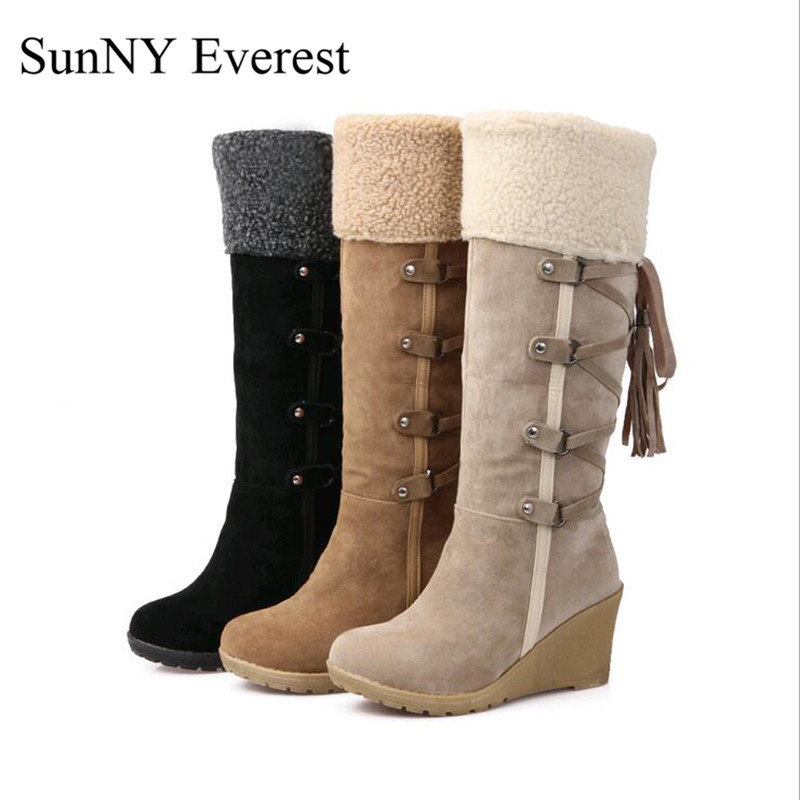 SunNY Everest winter boots woman pu high heels7cm lady boots mid-calf slip-on botas mujer black beige brown big size34-43us11 12 double buckle cross straps mid calf boots