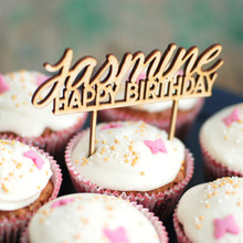 1pcs Personalized Customized Name Happy Birthday Wooden Wood Kids Children Birthday Cake Topper Party Decorations DIY Favors
