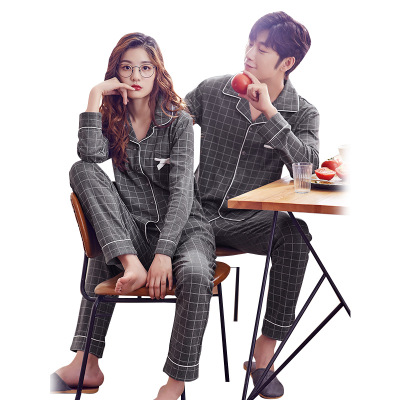 High Quality Lovers   Pajamas   Women 100% Cotton Grey Plaid Long-Sleeved   Pajama     Sets   Men Pure Couple   Pajamas   For Men   Set   Sleepwear