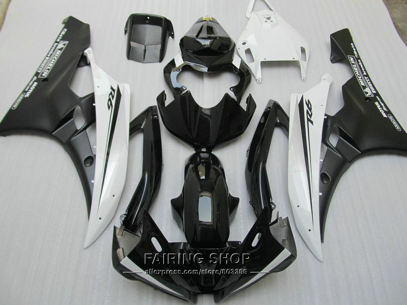 Injection mold free customize fairing kit For Yamaha R6 06 07 white black bodywork fairings set YZF 2006 2007 YT07 injection molding bodywork fairings set for yamaha r6 2008 2014 blue black full fairing kit yzf r6 08 09 14 zb83