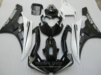 Injection mold free customize fairing kit For Yamaha R6 06 07 white black bodywork fairings set YZF 2006 2007 YT07