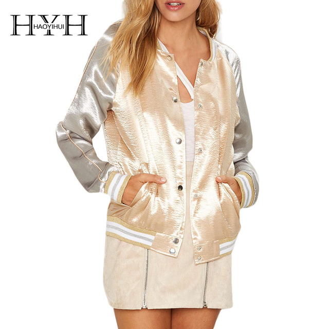 Hyh haoyihui 2017 brand new verão outono mulheres moda contraste satin sliver manga bombardeiro jaqueta sexy casaco breasted único