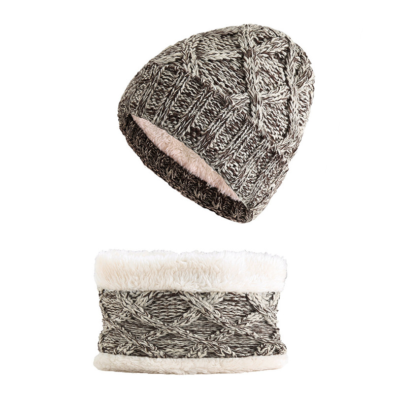 New Winter's Set Hat Scarf Kids Warm Caps Thick Plus Velvet Hat And Scarf Sets For Girls Boys Mix Colors Knitted Beanies