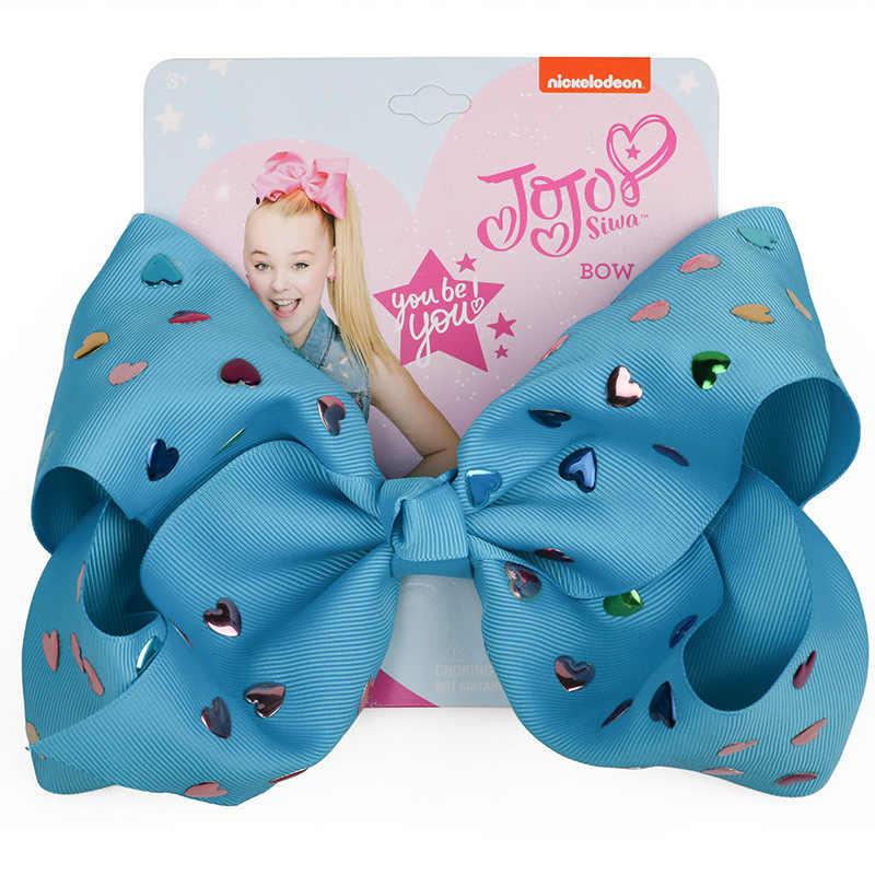 8 ''украшение для вечерние полиэстер Jojo банты для девочек день рождения банты для волос для девочек с зажимами украшение для волос фиолетовый