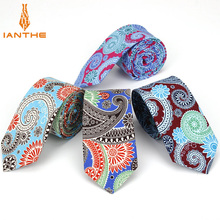 Mens Necktie Cotton 6cm Print Flowers Slim Ties Men Fashion
