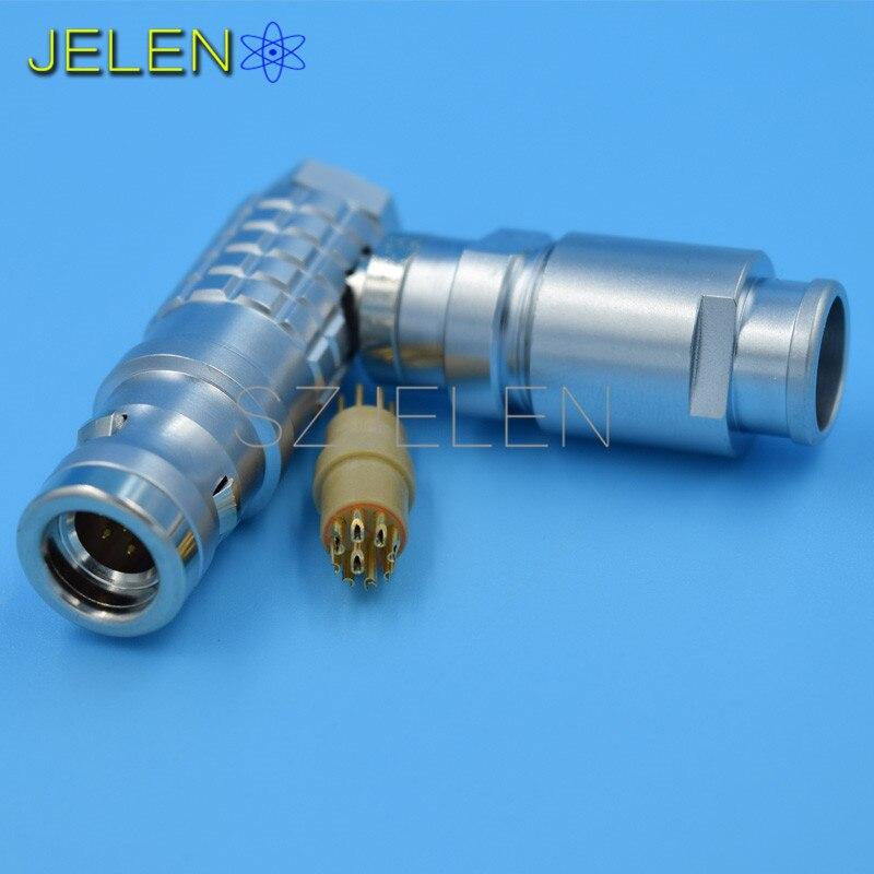 ФОТО 90 degree elbow plug 9 pin , LEMO Waterproof Connector 9-pin plug , FHG.1K.309.CLAD ,IP68, Metal circular connector plug