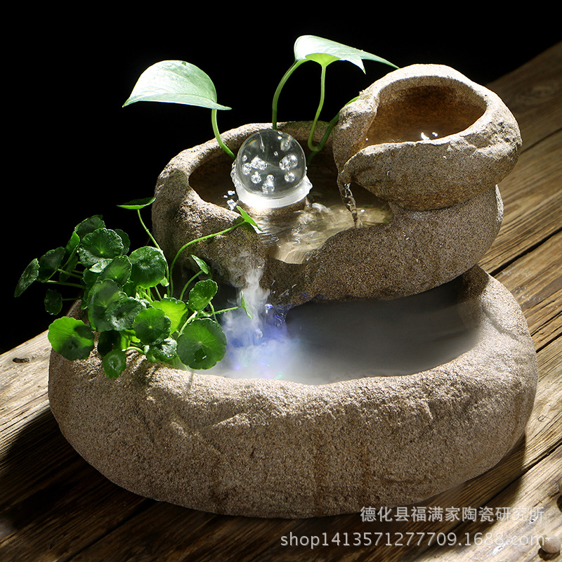 Ceramics Imitation Stone Water Flow Indoor Water Feature Fountain Office Living Room Fish Tank Decoration Humidifier