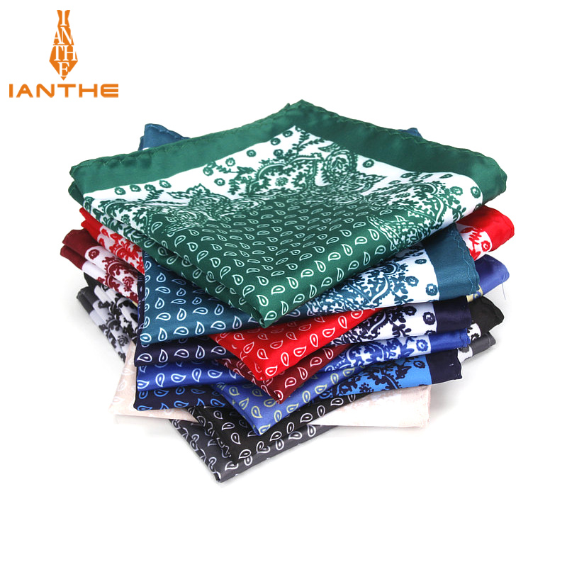Brand New Men's Handkerchief Vintage Paisley Print Pocket Square Soft Silk Hankies Wedding Party Business Hanky Chest Towel Gift